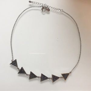 Black and silver triangle necklace